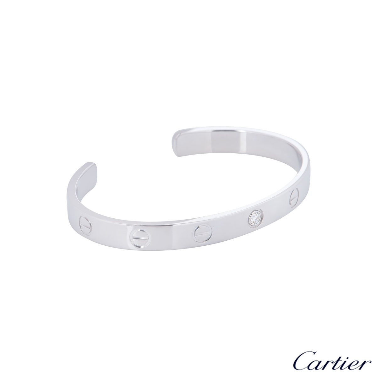 Cartier White Gold Diamond Cuff Love Bracelet Size 18 B6029918